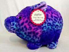 "FAB•NY  Plush Piggy Bank Purple Pink Blue Print  Pig  Soft  ""9x9x11""  New w/tags"