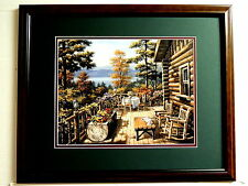 LOG CABIN HOUSE PICTURE  MOUNTAIN SCENE MATTED FRAMED 16X20