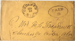 """Handstamped """"PAID 5"""" CONFEDERATE STATES COVER, Corinth, Miss. to """"Center,"""" Ala."""