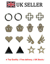 Set of 8 pairs of earrings studs girls women crown, hamsa, star, Steel jewellery