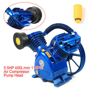 5.5HP 2 Piston V Style Twin Cylinder Air Compressor Pump Motor Head Single Stage