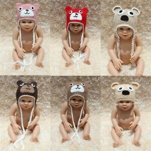 Knit Crochet Newborn Infant Baby Child Kids Teddy Bear Hat Cap Baby Shower Gift