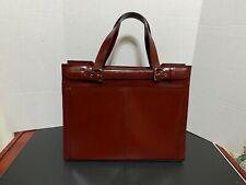 """Franklin Covey Red Leather Business Briefcase Laptop Messenger Bag 15"""""""