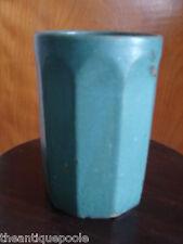 "Vintage Zanesville Stoneware Pottery Matte Green #203 10 sided Paneled Vase 6½"""