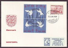 d6494/ Denmark Cover 1980 w/Dove Pigeon 4-Block Djf Christmas Seal Label