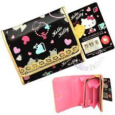 Sanrio Hello Kitty Coin Card Holder Black Gold Wallet