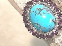 KINGMAN TURQUOISE & 2.45 cttw RHODOLITE & ZIRCON RING STERLING, SIZE 7 (M1124-98