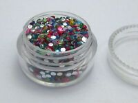 2000 Mixed Color Acrylic Faceted Round Flatback Rhinestone Gems 2mm +Storage Box