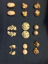 9 Pr VTG Earrings Trifari Pearl Rhinestone Maravella Crystal W. Germany Faux