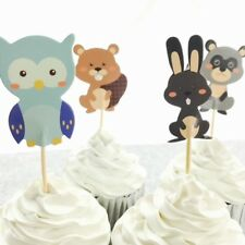 🐿12x Woodland Forest Cupcake Topper Picks. Wild Party Supplies Lolly Loot Bag