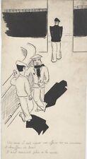 """""""SCENE DE BAR"""" Dessin à l'encre de Chine par E. LENOIR (années 30)"""