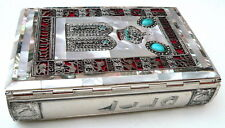 Very Rare Siddur Jewish Prayer Book Metal Cover with Pearls Hebrew English Sidur