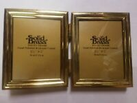 "Solid brass photo picture frame folding small 3 1/2"" x 5 """