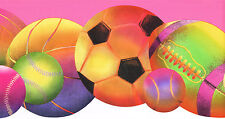 FOOTBALL BASKETBALL SOCCER BALL BRIGHT COLORS  Wallpaper bordeR Wall