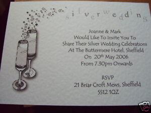 5 PERSONALISED SILVER WEDDING ANNIVERSARY INVITES CHAMP