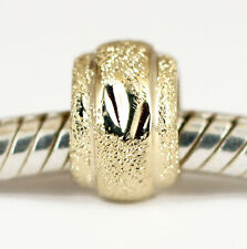 SOLID 9CT 9K YELLOW GOLD STARDUST TINY Spacer BEAD For Charm Bracelet / Necklace