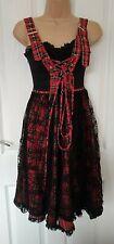 Rare Living Dead Souls Red Corset Tartan Dress - Prom Gothic Cyberpunk - Size L