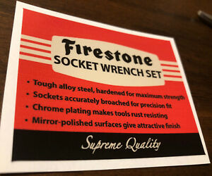 """Firestone Socket Wrench decal for restoration of vintage tool box  3"""" 1 Decal"""