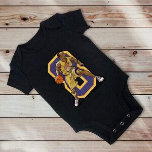 Kobe Bryant No. 8 Lakers in Black One Piece For Baby Ages 3-6 Months