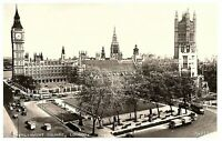 Parliament Square w/ old Cars & Buses RPPC Postcard Posted 1957