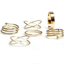 UN3F Ring Set Men Forever 21 Basic Cross Spiral Metallic Ring Six Pieces Golden
