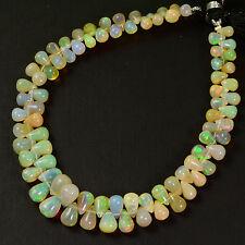 Fine Ethiopian Welo Opal Plain Teardrop Briolette Beads 8.1 inch Strand