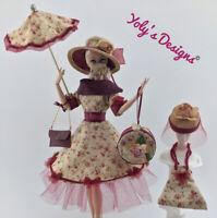 OOAK Handmade Dress,Mask,Umbrella,Bag,FITS Barbie Vintage,Silkstone & Repro Doll