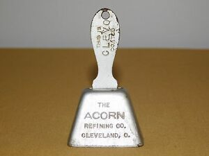 """VINTAGE 3 1/4"""" HIGH   ACORN REFINING CO CLEVELAND OHIO METAL COW ADVERTISE BELL"""