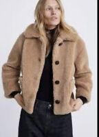 Zara Womens Faux Shearling S Teddy Fuzzy Coat Jacket Tan Camel 2969/040 NWT