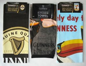 GUINNESS TEA TOWEL - OFFICIAL MERCHANDISE CHOICE OF LABEL GIRL TOUCAN - GIFT T