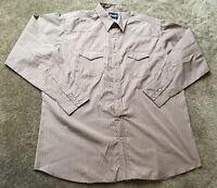 Wrangler Mens 2XL Long Sleeve Pearl Snap Brown Jacquard Striped Western Shirt