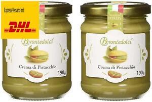 2 Stück - Brontedolci Pistaziencreme süß mit 40% Pistazien aus Sizilien (Ätn