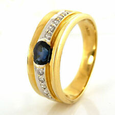 Ovale Echte Edelstein-Ringe aus Gelbgold mit Saphir für Damen