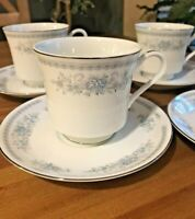 Fine Porcelain China Christine Pattern Set of 4 Coffee Cups & Saucers