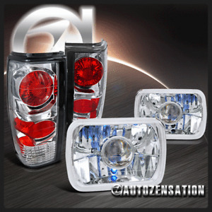 For 82-90 Chevy S10 Blazer GMC S15 Clear 7X6 Projector Headlights+Tail Lamps