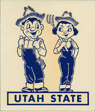 Utah State University _RARE_ ORIG 1950's College Decal vtg NCAA Aggies USU Gem