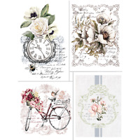 Prima Rub On Furniture Transfers BIKE RIDES Furniture Decals White Rose Transfer