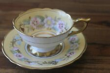 New listing Antique Royal Stafford Garland Yellow Gold Bone China Teacup tea cup saucer