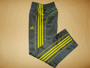 NEW ADIDAS GRAY WITH GREEN STRIPES ATHLETIC PANTS BOYS MEDIUM 10-12