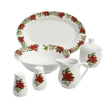 Gibson Home 99825.07R Poinsettia 7 Piece Porcelain Serving Set In Red
