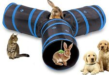 Cat Tunnel Collapsible 3 Way Play Toy Tube Hole Pet Rabbits Kitty Dogs Foldable