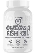 Modern Man Omega 3 Fish Oil Burpless, Extra Strength for Heart and Brain Health