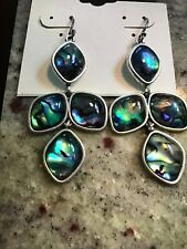 Lucky Brand Silver Tone Stone Chandelier Earrings, NWT
