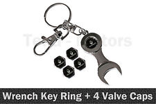 Renault Spanner Wrench Key Ring Chain Keyring + 4 Tyre Tire Valve Caps /1109