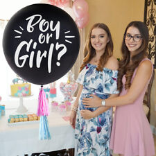 """OH BABY! Giant 36"""" Gender Reveal Boy or Girl Confetti Balloon Kit With Tassels"""
