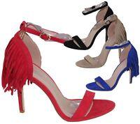 Womens Sandals Stiletto High Heel Tassel Ladies Open Toe Summer Ankle Shoes