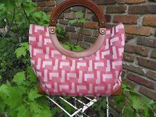 Nine West red geometric fabric and brown leather medium-large handbag EUC!
