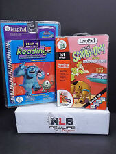 2 Leap Frog LeapPad Activity Books & Cartridges Monsters Inc. & Scooby-Doo