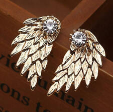 Urban Trend Gold Angel Bird Wing Ear Jackets Cuff Earrings Clear Crystal Stud