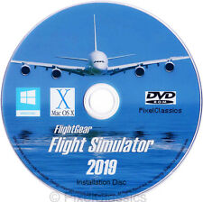 Simulateur de vol 2019 x Flight Sim Avion & hélicoptère pour Windows 10 8 7 PC DVD